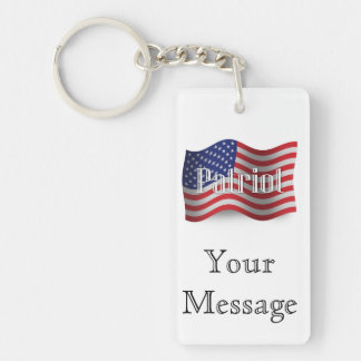 Bandera que agita del patriota de Estados Unidos Llavero Rectangular Acrílico A Doble Cara