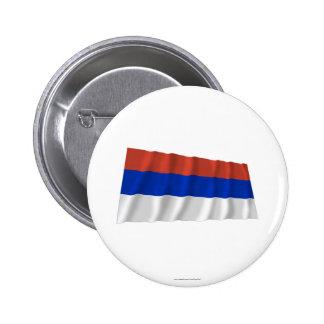 Bandera que agita del República Serbia Pin Redondo 5 Cm