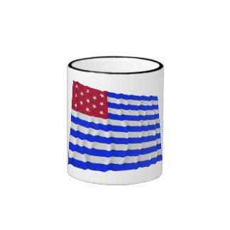 Bandera que agita del sedero del fuerte tazas de café
