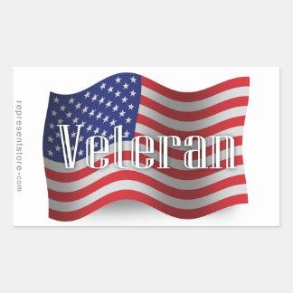 Bandera que agita del veterano de Estados Unidos Rectangular Pegatina