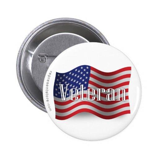 Bandera que agita del veterano de Estados Unidos Pin Redondo De 2 Pulgadas