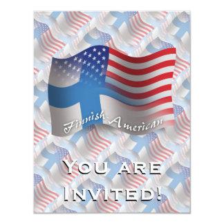 """Bandera que agita Finlandés-Americana Invitación 4.25"""" X 5.5"""""""