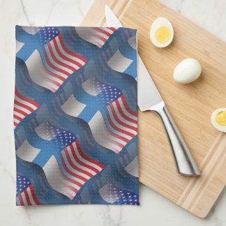 Bandera que agita Finlandés-Americana Toallas De Mano