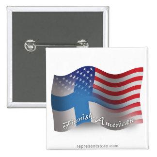Bandera que agita Finlandés-Americana Pin Cuadrada 5 Cm