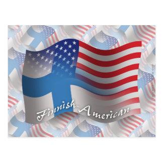 Bandera que agita Finlandés-Americana Postal