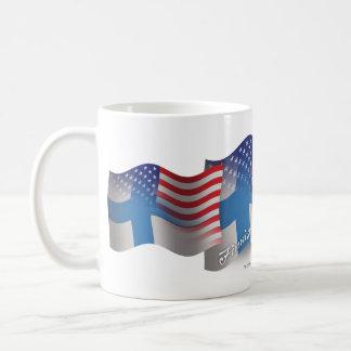 Bandera que agita Finlandés-Americana Taza De Café