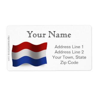 Bandera que agita holandesa etiquetas de envío