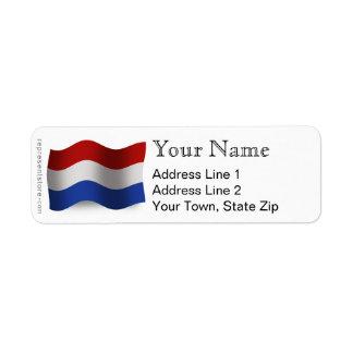 Bandera que agita holandesa etiquetas de remite