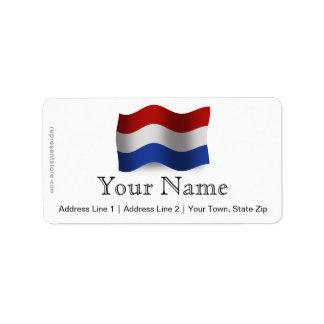 Bandera que agita holandesa etiquetas de dirección