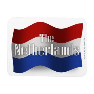 Bandera que agita holandesa imán rectangular