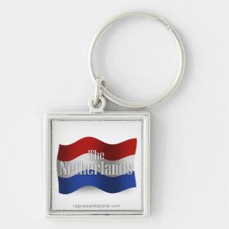 Bandera que agita holandesa llavero cuadrado plateado