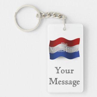 Bandera que agita holandesa llavero rectangular acrílico a doble cara