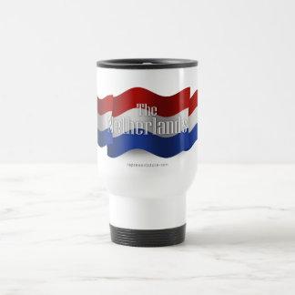 Bandera que agita holandesa taza de viaje