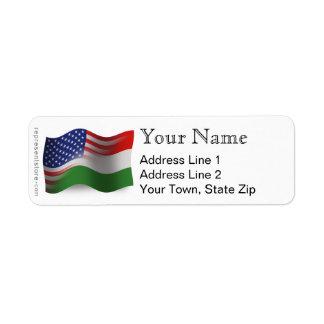 Bandera que agita Húngaro-Americana Etiqueta De Remitente