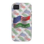 Bandera que agita Húngaro-Americana iPhone 4/4S Carcasas