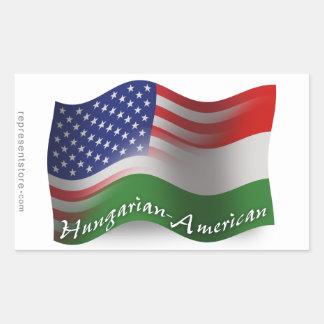 Bandera que agita Húngaro-Americana Rectangular Pegatinas