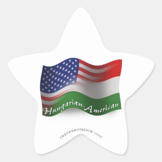 Bandera que agita Húngaro-Americana Pegatina En Forma De Estrella
