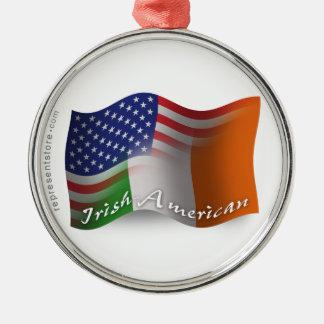 Bandera que agita Irlandés-Americana Adornos De Navidad