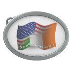 Bandera que agita Irlandés-Americana Hebillas Cinturon Ovales