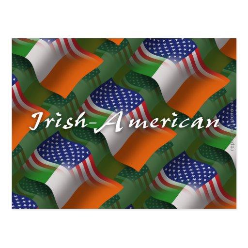 Bandera que agita Irlandés-Americana Tarjeta Postal