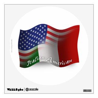 Bandera que agita Italiano-Americana