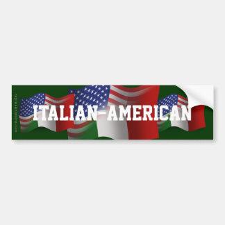 Bandera que agita Italiano-Americana Etiqueta De Parachoque