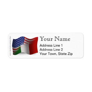 Bandera que agita Italiano-Americana Etiquetas De Remite