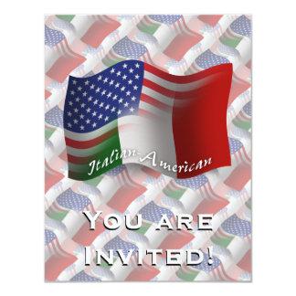 """Bandera que agita Italiano-Americana Invitación 4.25"""" X 5.5"""""""