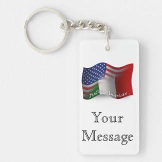 Bandera que agita Italiano-Americana Llaveros