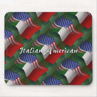 Bandera que agita Italiano-Americana Mouse Pad