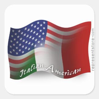 Bandera que agita Italiano-Americana Pegatinas Cuadradas Personalizadas