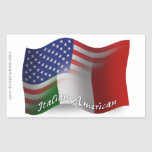 Bandera que agita Italiano-Americana Pegatina Rectangular