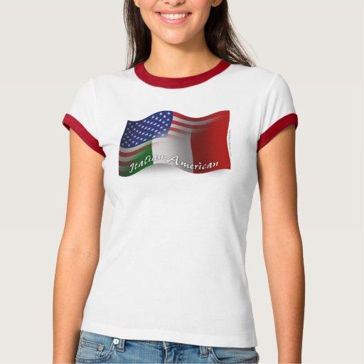 Bandera que agita Italiano-Americana Polera