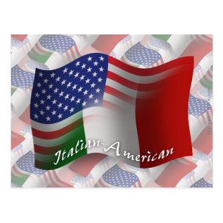 Bandera que agita Italiano-Americana Postales