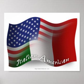 Bandera que agita Italiano-Americana Póster
