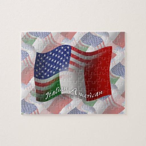 Bandera que agita Italiano-Americana Puzzles Con Fotos