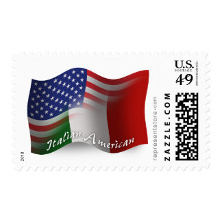 Bandera que agita Italiano-Americana Sellos