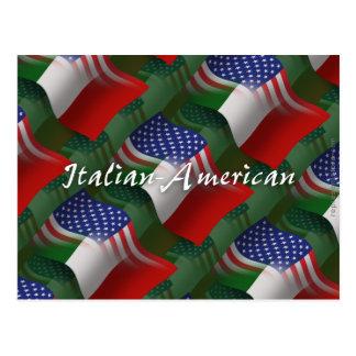 Bandera que agita Italiano-Americana Tarjeta Postal