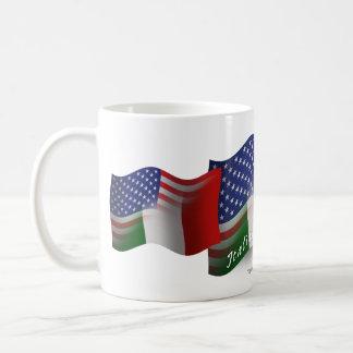 Bandera que agita Italiano-Americana Taza De Café