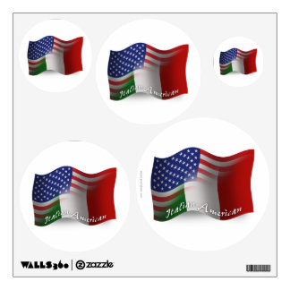 Bandera que agita Italiano-Americana Vinilo Adhesivo