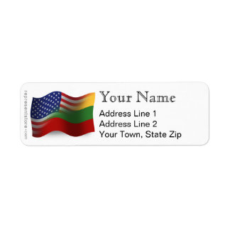 Bandera que agita Lituano-Americana Etiqueta De Remite
