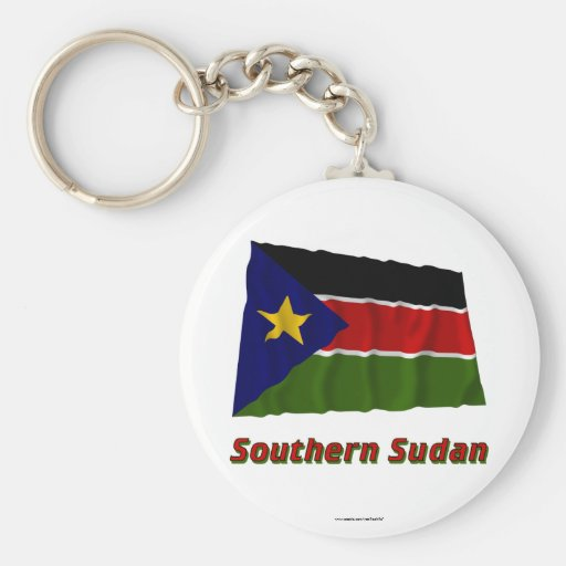 Bandera que agita meridional de Sudán con nombre Llavero Redondo Tipo Pin