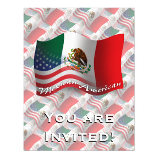 Bandera que agita mexicana-americano comunicado