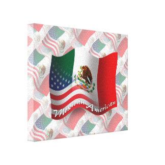 Bandera que agita mexicana-americano lona envuelta para galerias
