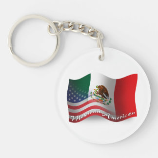 Bandera que agita mexicana-americano llavero