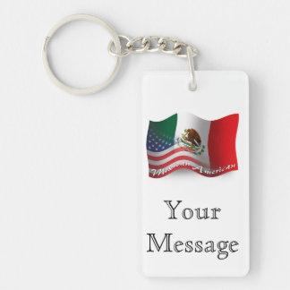 Bandera que agita mexicana-americano llavero rectangular acrílico a doble cara