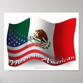 Bandera que agita mexicana-americano póster