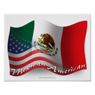 Bandera que agita mexicana-americano posters