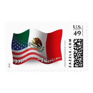 Bandera que agita mexicana-americano sello