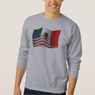 Bandera que agita mexicana-americano sudadera